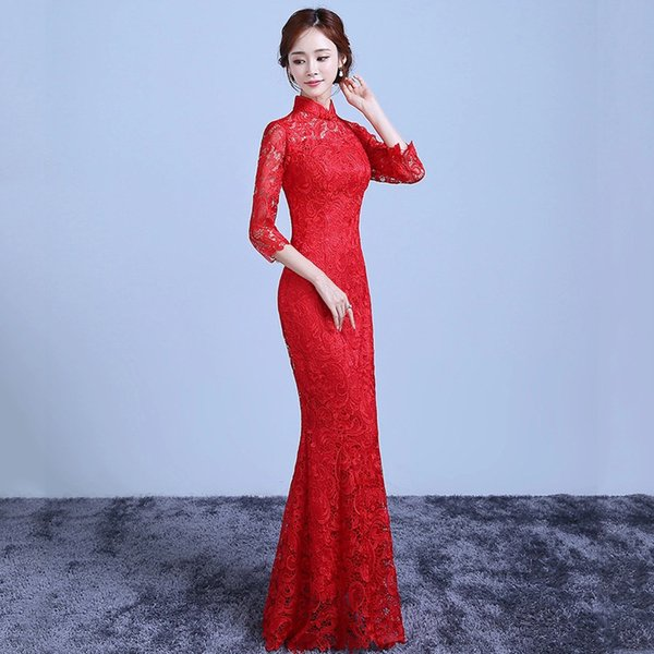 Red Lace Tailing Modern Qipao Long Cheongsam Chinese Traditional Dress Vintage Hollow Wedding Qi Pao Vestido Oriental Dresses
