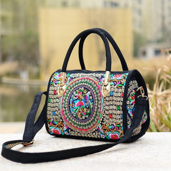mylb Canvas Floral Embroidered Multi Function Women Handbag Hot Sale Casual Shoulder Bag Messenger Ladies Crossbody Bag