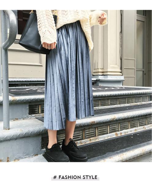 f63d6dddf Compre Nueva 2019 Falda De Las Mujeres Otoño Retro Terciopelo Falda Plisada  Moda Cintura Alta Era Falda Delgada A $16.96 Del Lindinho | DHgate.Com