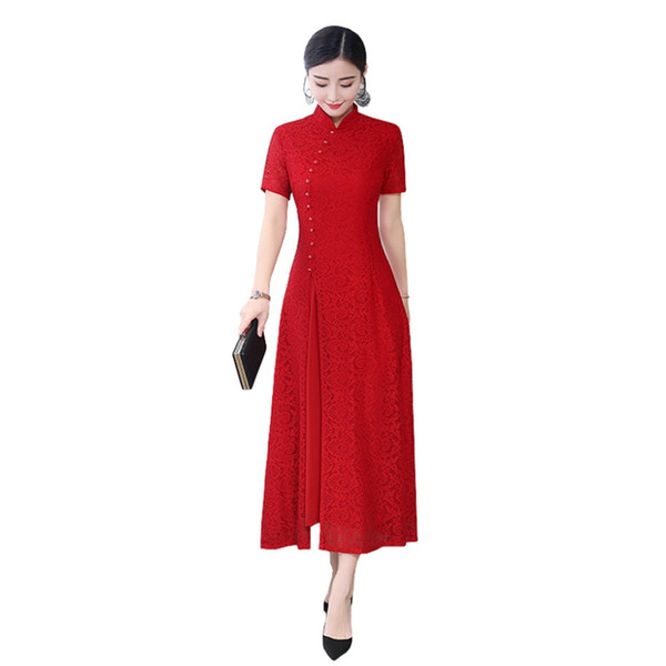 Shanghai Story Long Qipao Fashion Chinese Women's Dress Oriental Style dress Lace Cheongsam for Woman 3 Color