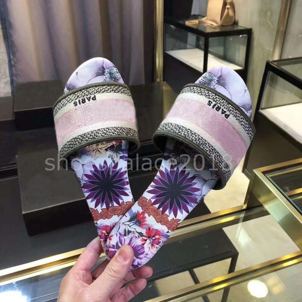 shoespalace2018 / Zapatillas de diseñador de lujo de París, sandalias de verano agradables, zapatillas de playa, zapatillas para mujer, chanclas, mocasines, cuero, c