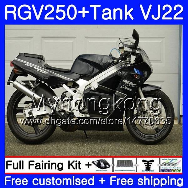 Vücut + Parlak siyah sıcak Tank SUZUKI RGV250 VJ22 1988 1989 1990 1991 1992 1993 307H.4.4 RGV-250 VJ21 RGV 250 88 89 90 91 92 93 Kaporta kiti