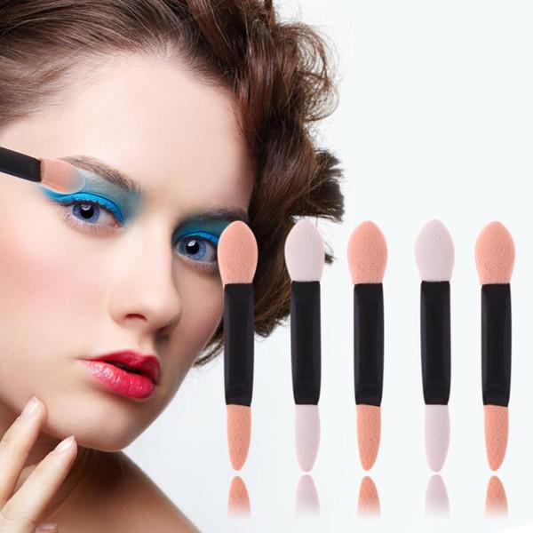 100Pcs/Set Brushes Disposable Double End Eyeshadow Sponge Brush Stick Eyebrow Eyeliner Lipgloss Lipstick Eyes Lips Applicator