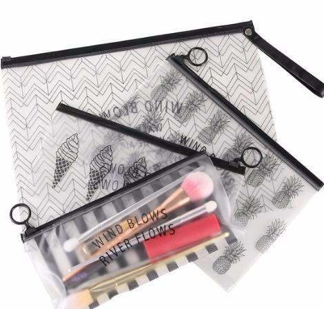 Cosmetic Bag Makeup Brush Tools Pencil Pen Case Clear Makeup Zipper Holder Storage Makeup Tool Kit 3 Sizes