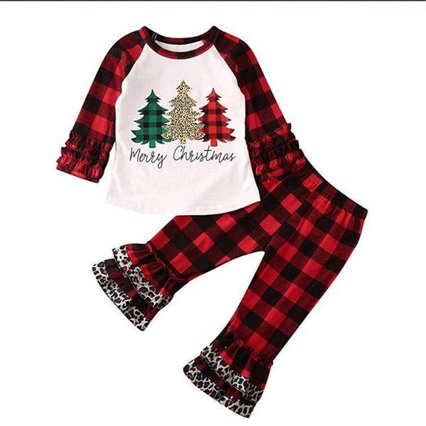 Bebek Çocuk Boys Kız Mutlu Charistmas Tracksuits Hoodie Bluz ve Ekose Pantolon 2 Adet Kıyafetler Falbala fırfır Pijama Takım Elbise Kumaş A110603