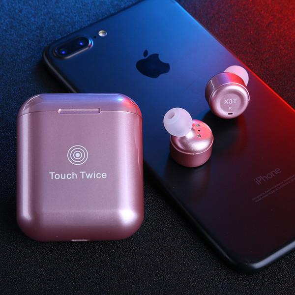 Twins X3T En Kaliteli Kablosuz Kulaklık Bluetooth Kulaklık Siyah Kırmızı Mavi Kulaklık Stereo Manyetik Şarj Kutusu Kasa ile IOS Android için
