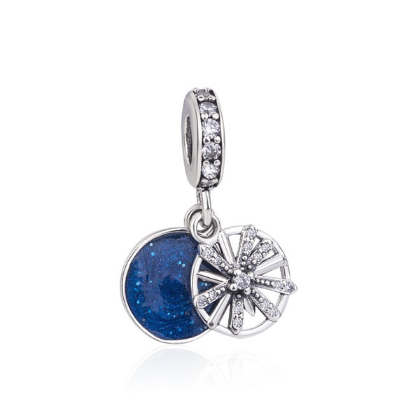 Christmas Gift Authentic 925 Sterling Silver Dazzling Wishes Dangle Charm, Clear Crystal Blue Enamel Beads Fit Pandora Bracelet DIY Jewelry