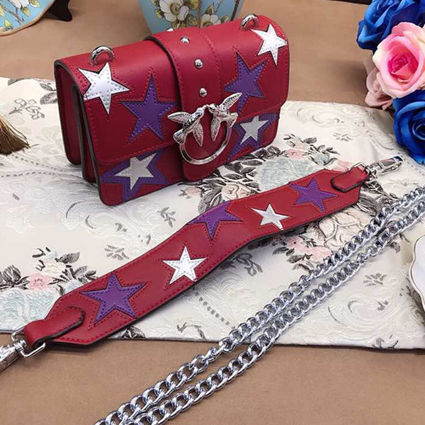 Quality designer women chain crossbody messenger bags leather shoulder bag fashion star pattern Swallow birds bags 2018