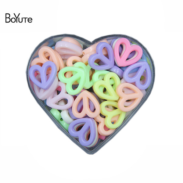 wholesale 500G/Bag Mix Colors 17MM Acrylic Heart Beads Children DIY Handmade Beads for Jewelry Making
