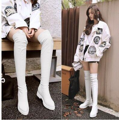 New Arrival Hot Sale Specials Super Fashion Influx Sexy Tube Plus Velvet Trend Pointed Elastic PU Leather Stretch Overknee Boots EU34-43