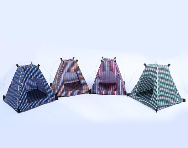 Creative Portable Folding Striped Pet Tent Dog House Cage Dog Cat Tent Playpen Puppy Kennel Easy Operation Outdoor Supplies