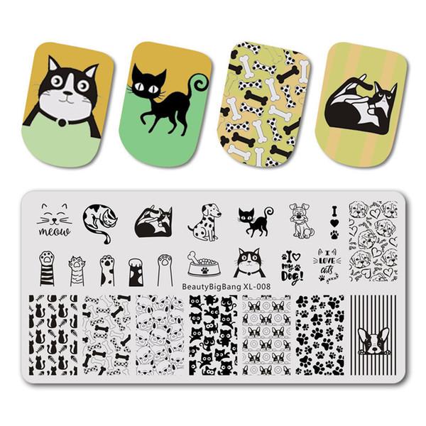 BeautyBigBang штамповки пластины 6 * 12 см для ногтей кошка собака изображение пластины ногтей штамповки пластины ногтей штамп шаблон BBB XL-008