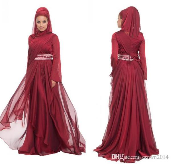 Burgundy Chiffon Formal Long Lace Appliques Evening Dresses With Hijab Long Sleeve 2017 Beaded Pleated Layered Ruffle Arabic Muslim Dress