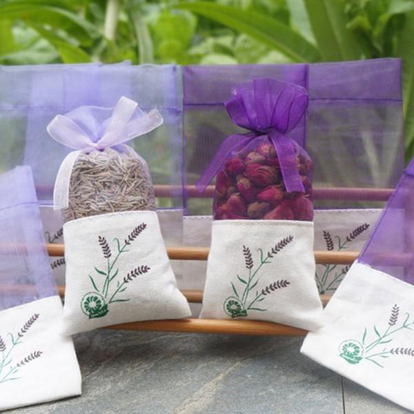 Hot Sale Lavender Pattern Empty Bags Cotton wedding party candy bag Linen Bundle Pocket Gauze Bags DIY Dried Flower Net Yarn Bags