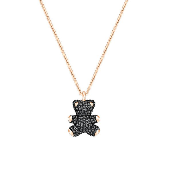 Luxe Bijoux Designer Collier DOUDOU Colliers Noir Blanc Rose Rouge 4color Ours 3D Full Diamond Glacé Pendent