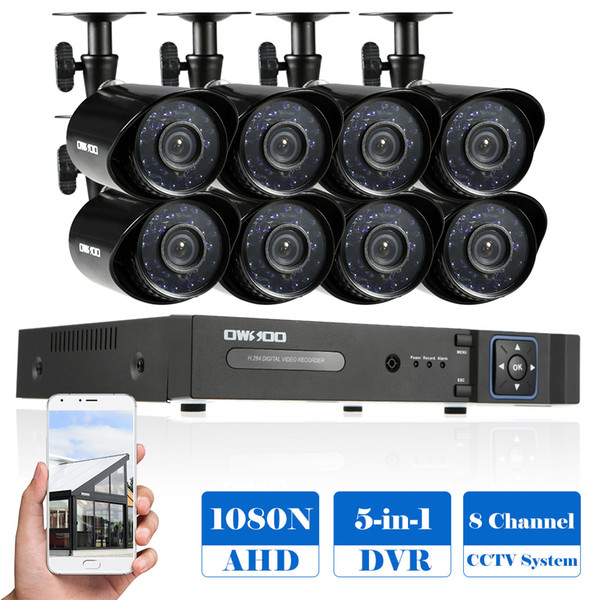 OWSOO 8CH 1080P 5-in-1 Digital Video Recorder + 8*720P AHD IR CCTV Camera + 8*60ft Surveillance Cable for CCTV Security System