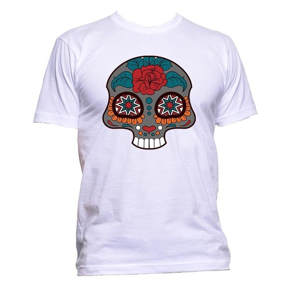 Sugar Skull Grey Coloured With Flower T-Shirt Mens Womens Unisex Fashion Slogan jersey Print t-shirt