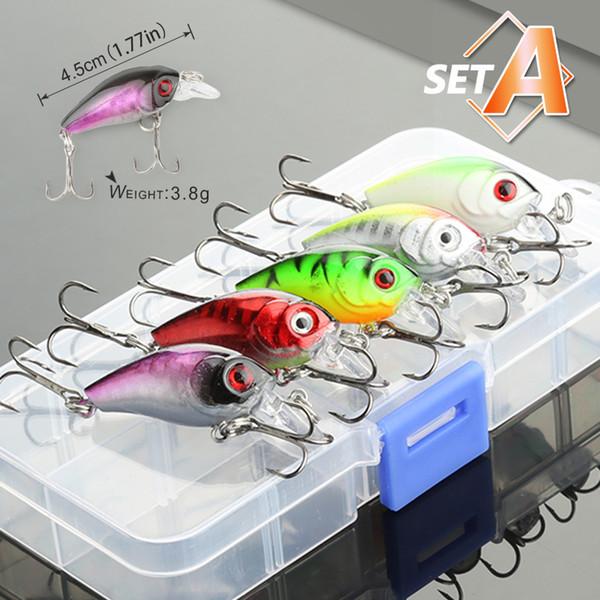 5/8/10pcs Mixed Colors Fishing Lure Set Minnow Baits Kit Wobbler Crankbaits With Box Treble Hooks Fishing Tackle Hard Bait
