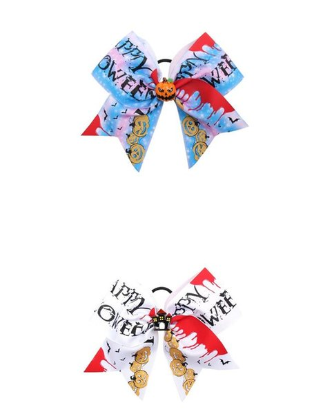 15pcs/lot Halloween 7'' Cheer Bows for Girls Handmade Funny Print Grosgarin Ribbons Hair Rubbr Band Ropes Party Gifts Kids Headwear