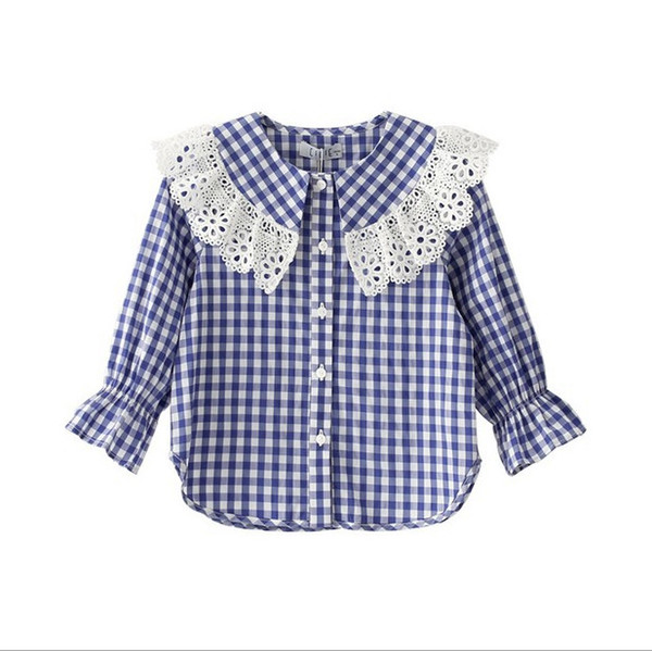 Girls cotton plaid shirt 2019 spring new kids lace hollow embroidery falbala lapel princess tops children flare sleeve lattice blouse F3373