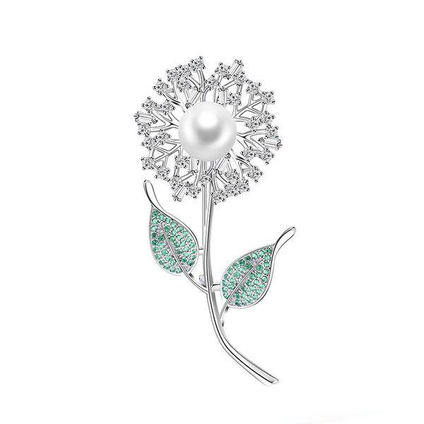 Fashion Trend Copper Brooch Cute Dandelion Green Leaf Flower Copper Zircon Brooch Backpack Dress Jewelry High Quality