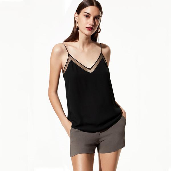 Sexy V Cou Camis Débardeurs Transparent Sans Manches D'été Top Chemises T-shirts Femmes Vêtements Noir Blanc Drop Ship 220153
