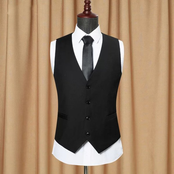Custom Made Black Men Suit Vest Classic Slim Fit Wedding Waistcoat Mens Formal Slim Sleeveless Vest Men Gilet Homme VT1151