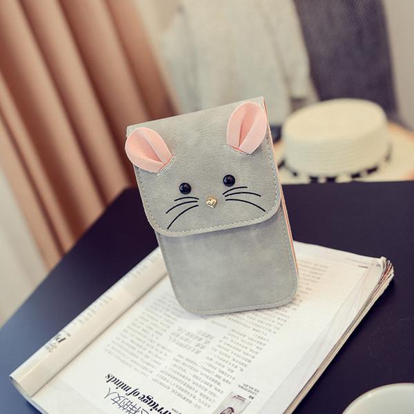 Designer-Creatice Cute Cartoon Mouse Shape Flap Shoulder Bags Concise Kawaii Girls Crossbody Pu Bags Mobile Phone Purse