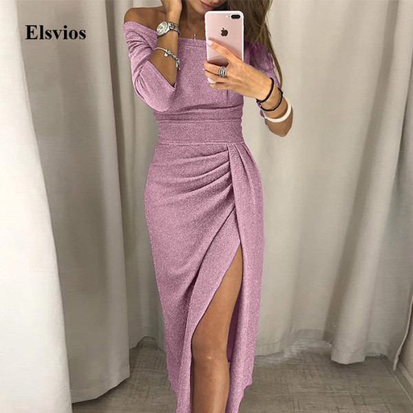 Elsvios Sexy Mulheres Alta Parte Vestido com Racha Outono Feminino seda Bodycon Maxi vestido elegante ombro Off Glitter longo 3XL