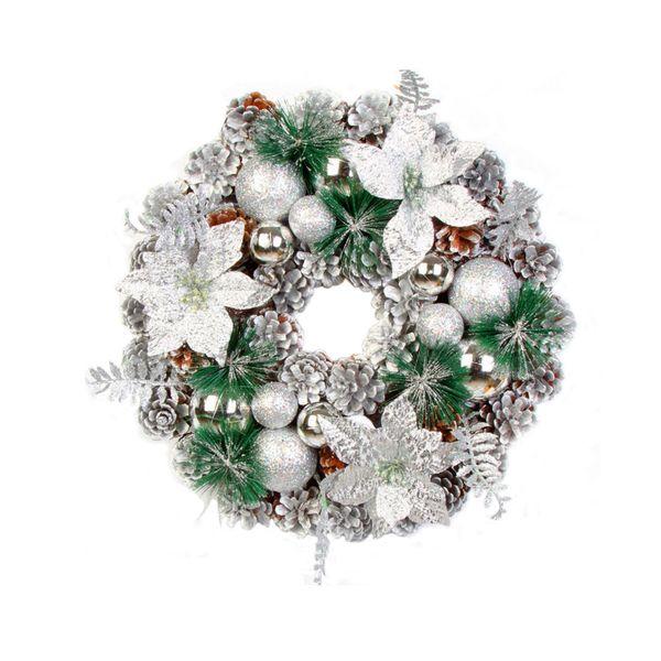 Christmas Artificial Pine Cone wreath hair Leaf Fall Door Wall Home Decor hawaii party Ornament 40cm hawaii necklace decorativo