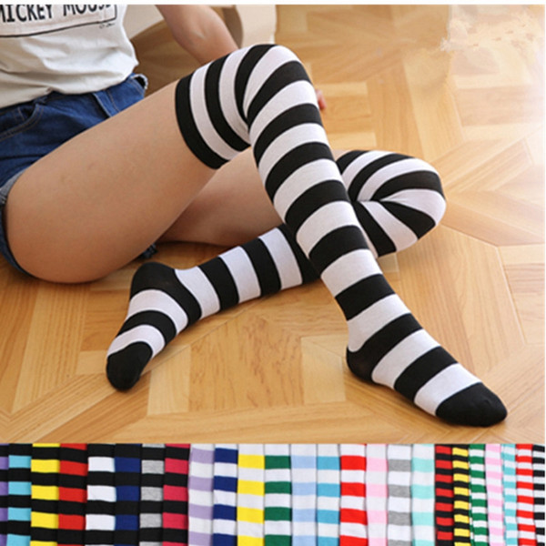 Fashion Lady Over Knee Long Stripe Calze stampate calze a coste a righe a forma di calzini Sweet Cute Women Girls Socking