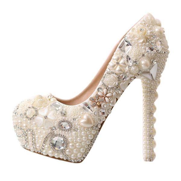 Gorgeous Bling Bling High-heel Waterproof Platform Wedding Shoes White Pearl Crystal Rhinestone Bridesmaid Shoes Ladies Banquet Shoe