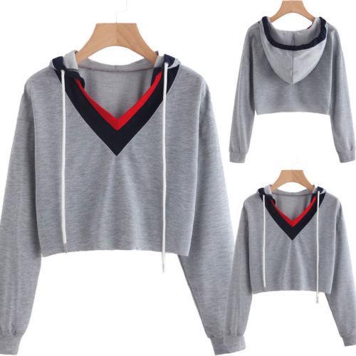 2017 beiläufige Baumwollfrauen beiläufige lange Hülsen-Hoodie-Überbrücker-Pullover-Sweatshirt-Oberseiten-Hemd-Größe S-XL