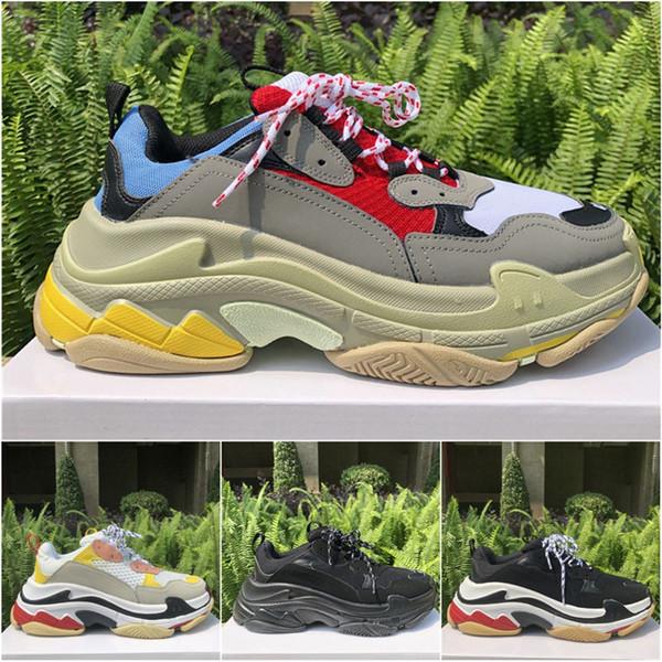 Lüks Tasarımcı Ayakkabı Üçlü S Üçlü Siyah Erkekler Kadınlar Beyaz Temizle Sole Moda Tasarımcısı Ayakkabı Chaussures Bölünmüş Siyah Gri Rahat ayakkabılar 36-45