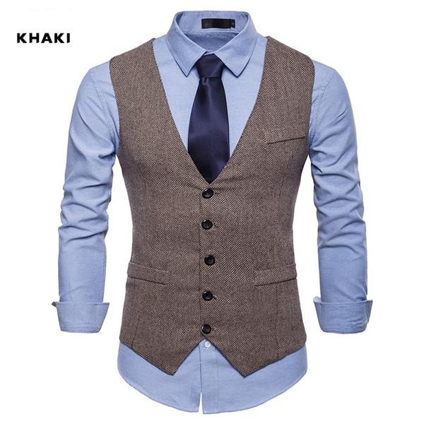 New Farm Wedding Brown Wool Herringbone Tweed Vests Custom Made Groom's Suit Vest Slim Fit Tailor Made Wedding Vest Men Plus Size