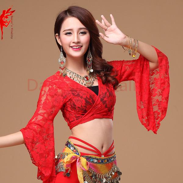 13 цветов топ танца живота женщины глубокий v-образным вырезом топ вспышки рукав девушки танец живота сексуальные кружева