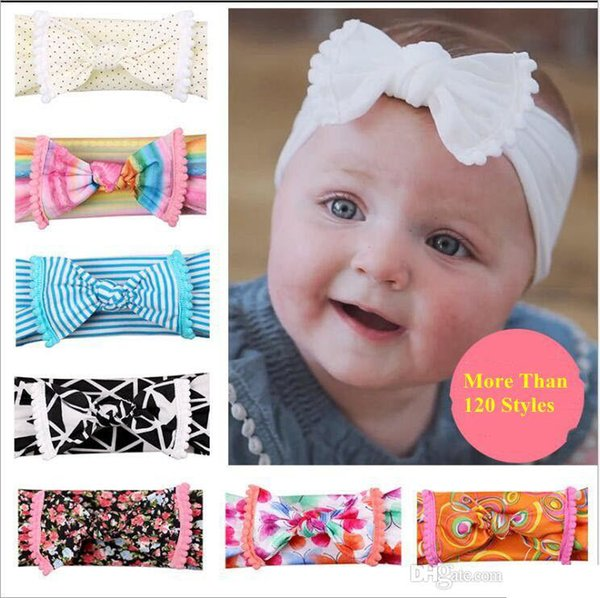 Baby Headband Girls Bow Bohemia Turban Twist Knot Head Wrap Floral Solid Polka Dot Striped Hair Bows Accessories Headwear 120 Style B5759