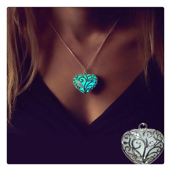 Mode Magie Anhänger Halskette Herz im Dunkeln leuchten Halsketten für Frauen Mädchen Match mit geeigneten Bekleidung für verschiedene Anlässe