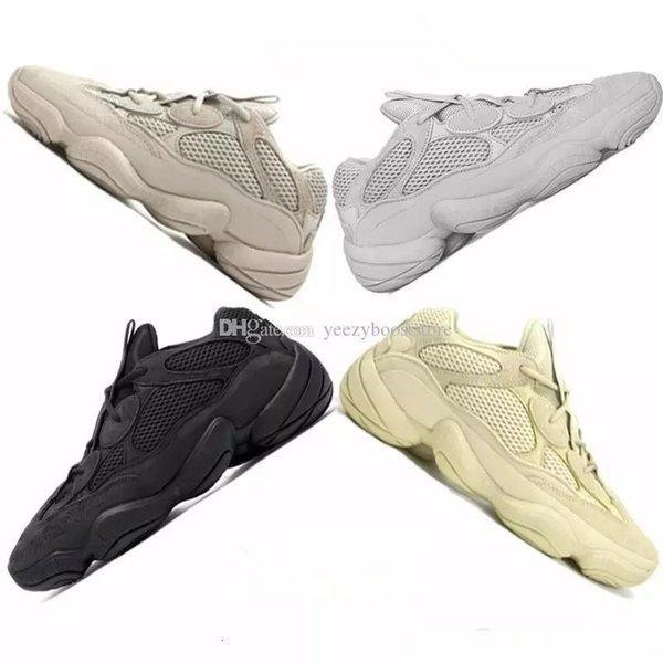 Kutu Kanye West 500 Allık Utility Siyah Süper Ay Sarı çöl faresi Tuz Spor Ayakkabı Erkekler Eğitmenler Kadınlar Casual Spor ayakkabılar çalışan ile