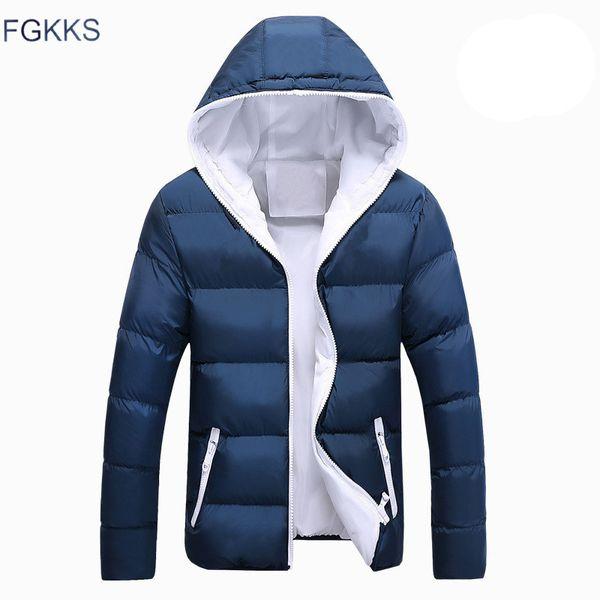 FGKKS Men's Hooded Jackets Parkas Winter Thick Collar Men Warm Coats Casual Male Snow Wear