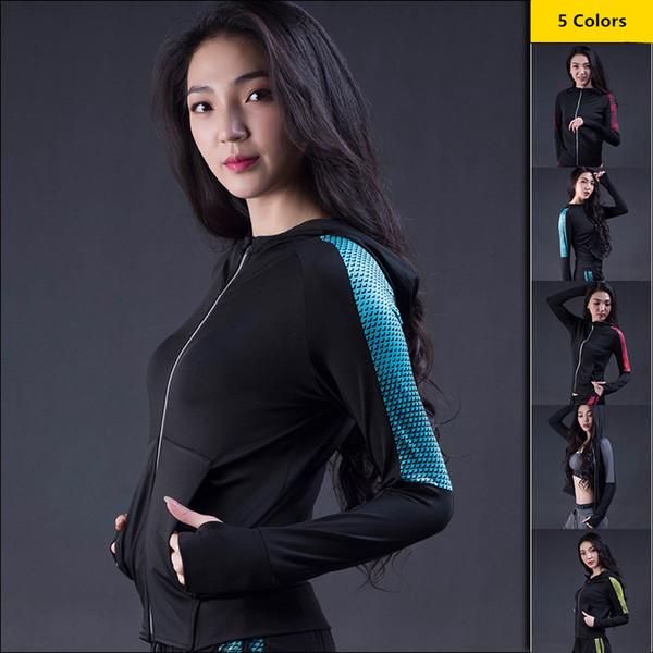 Vêtements de sport pour femmes Vêtements de sport Zip Hoodies Fitness Running Tops de yoga Filles à séchage rapide et à manches longues pour le sport