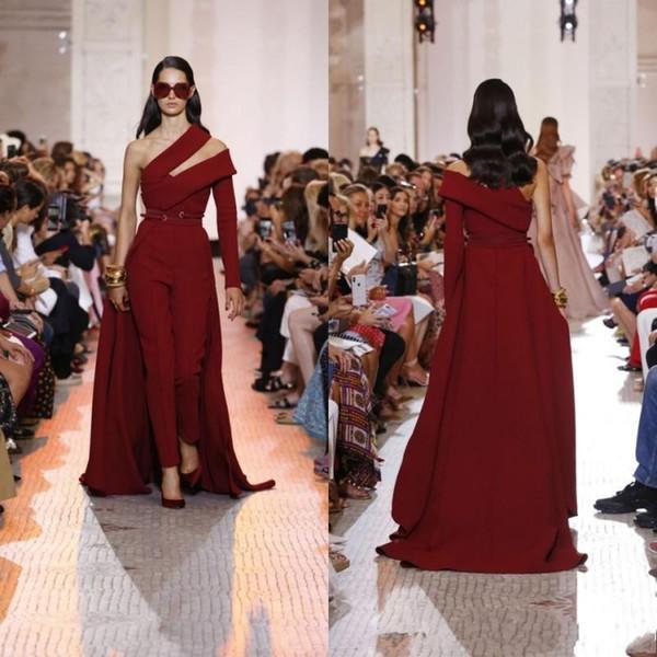 2019 elegant elie saab formal burgundy prom dresses 2019 custom detachable train one shoulder evening dress party gowns robes de soirée