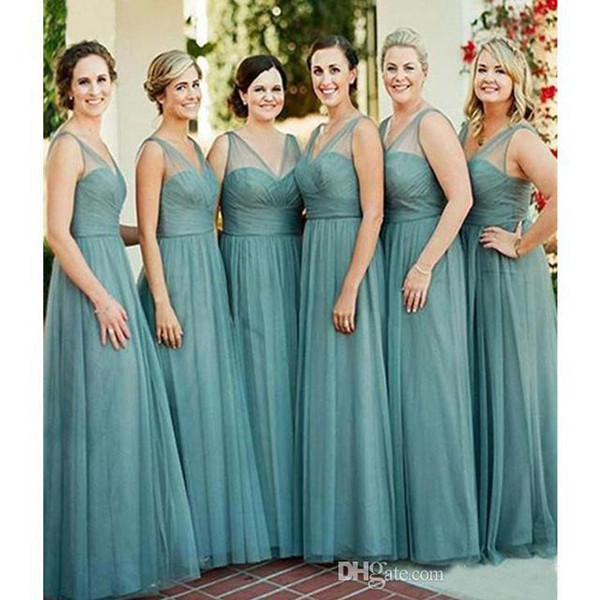 2019 Long Bridesmaid Dress V Neck Western Summer Country Garden Formal Wedding Party Guest Maid of Honor Gown Plus Size Custom Made