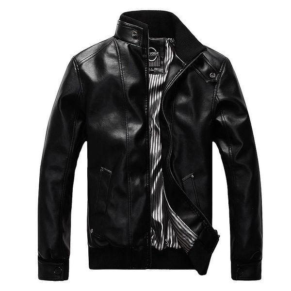 Nueva moda de la motocicleta chaquetas de cuero de los hombres de cuero abrigo informal delgado abrigos con cremallera hombre prendas de vestir exteriores del collar del soporte chaquetas Jaqueta
