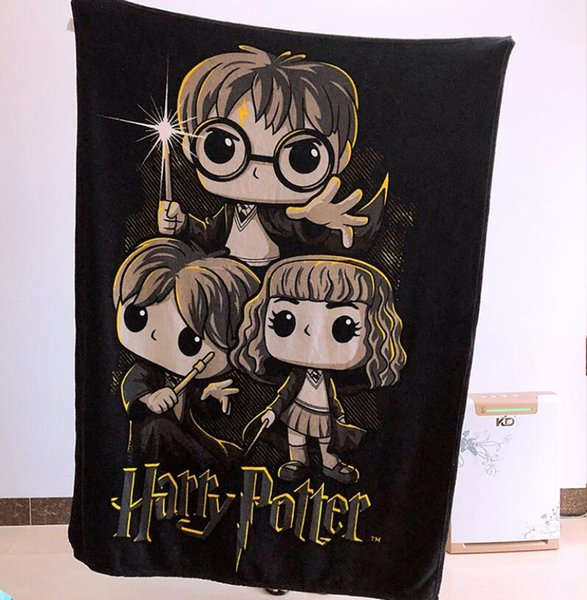 2018 NEW Hot Selling 1lot/10pcs Black Flannel Harry Potter Cartoon blanket Big Size 120*150cm bed sheet for Girls child Office Baby Gift
