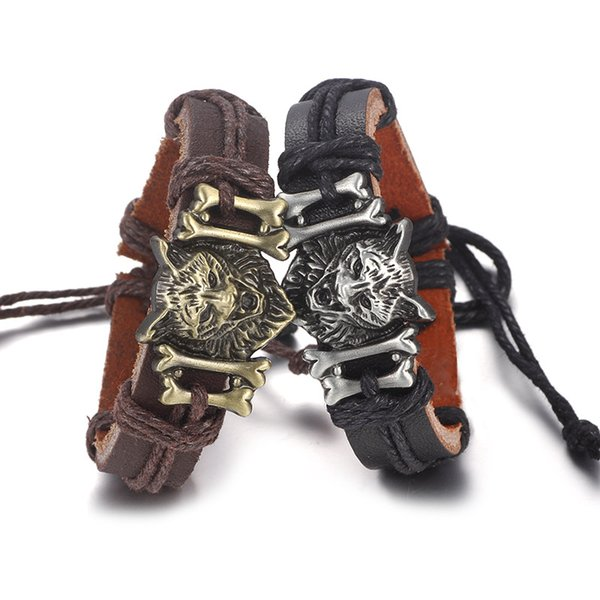 Bracelets en cuir Bracelet Bijoux Hommes Bracelet Tête De Loup Accessoires Bande de Montre Conception Bande Réglable Hip Hop Décorations Amulette Bijoux