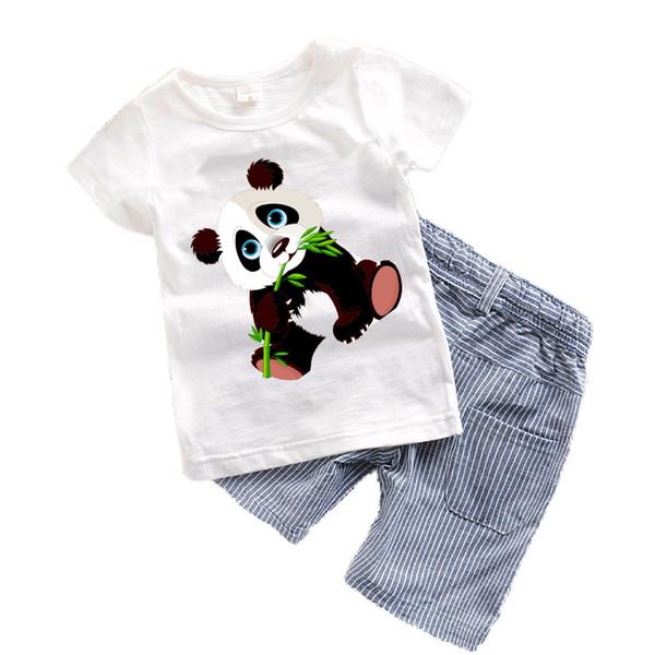 2018 Baby boys clothes Summer Toddler boy clothing sets Cartoon Children clothes Kids Costume Panda Dinosaur Boys clothing