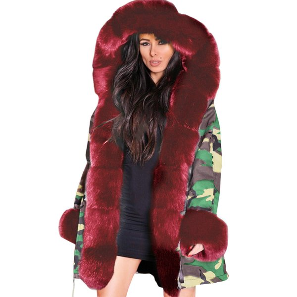 winter office casual parkas daily women hooded coat shopping thicken outdoor faux fur camouflage warm outwear slim