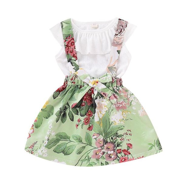 Baby girls suspender Skirt outfits romper tops+2019 new Summer Kids Floral Ruffled T Shirt+ 2pcs set kids Clothing Sets BY1117
