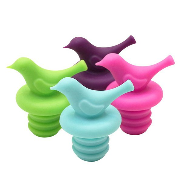 5 Colors Bird Style Silicone Stopper Bottle Caps Wine Beer Cork Stoppers Plug Creative Bottle Lids Cover Home Decor Tools